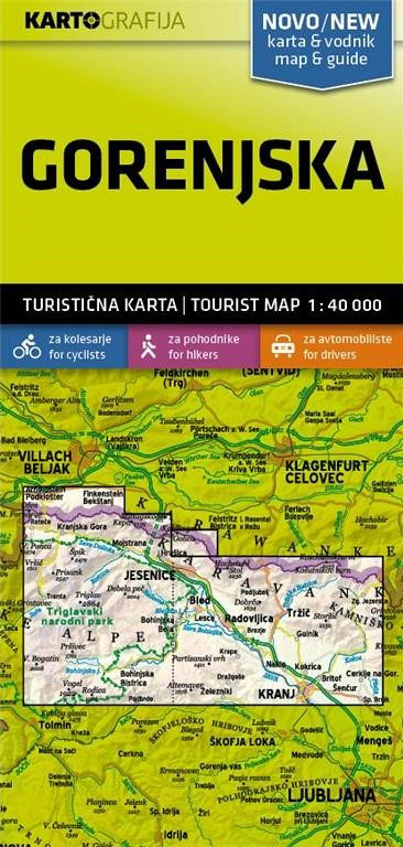 Gorenjska 1:40.000, turistična karta z vodnikom