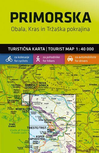 Primorska – Obala, Kras in Tržaška pokrajina 1:40.000, turistična karta z vodnikom