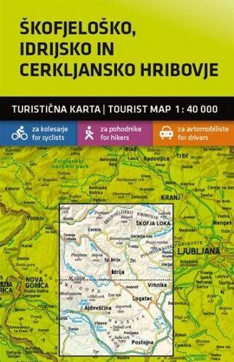 Škofjeloško, Idrijsko in Cerkljansko hribovje 1:40.000, turistična karta z vodnikom