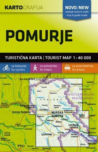 Pomurje 1:40.000, turistična karta z vodnikom