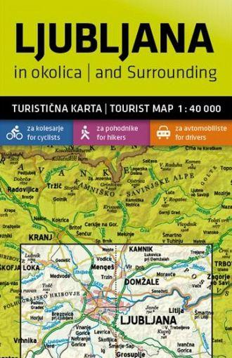 Ljubljana in okolica 1:40.000, turistična karta z vodnikom