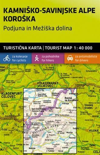 Kamniško-Savinjske Alpe, Koroška – Podujna in Mežiška dolina 1:40.000, turistična karta z vodnikom