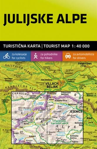 Julijske Alpe 1:40.000, turistična karta z vodnikom