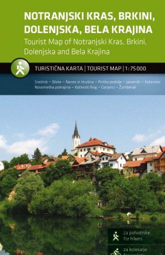 Notranjski Kras, Brkini, Dolenjska, Bela Krajina 1:75.000, turistična karta