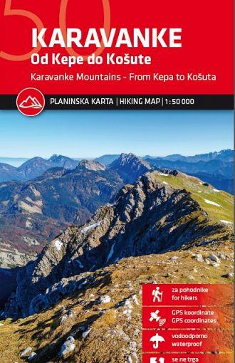 Karavanke – od Kepe do Košute 1:50.000, planinska karta