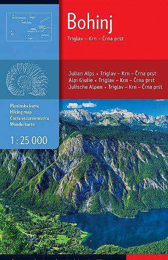 Bohinj, Triglav, Krn, Črna prst 1:25.000, planinska karta