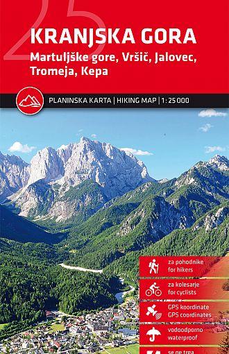 Kranjska Gora Martuljške gore, Vršič, Jalovec, Tromeja, Kepa 1:25.000, planinska karta
