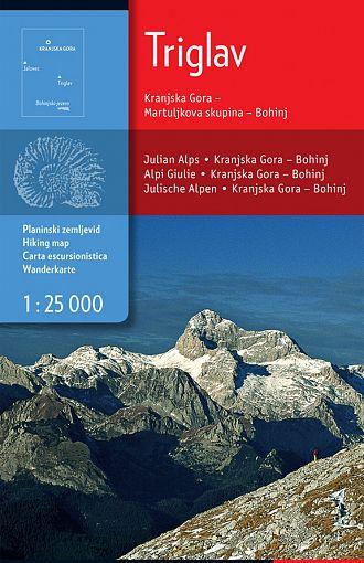 Triglav, Kranjska Gora, Martuljkova skupina, Bohinj 1:25.000, planinska karta