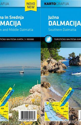 Severna, Srednja in Južna Dalmacija – Komplet – 1:100.000, turistično-navtična karta