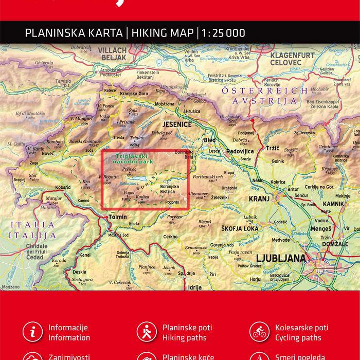 Bohinj 1:25.000, planinska karta